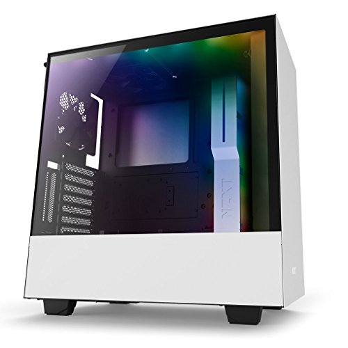 NZXT H500i - Compact ATX Mid-Tower PC Gaming Case - RGB Lighting and Fan Control - CAM-Powered Smart Device - Tempered Glass Panel - Enhanced Cable Management System - Water-Cooling Ready - White