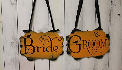 Bride Groom Wedding Chair Sign Halloween Spooky Photo Prop Costume Prop Orange Black Halloween Wedding Bat Spider Crow Halloween Wedding Home Wood Sign Funny Craft Wall Decor ()