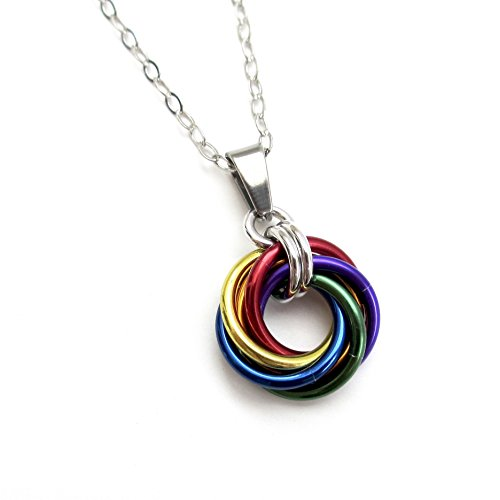 Gay pride pendant, chainmail love knot, rainbow jewelry -