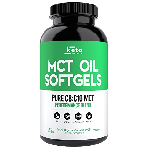 KETO Function MCT Oil Capsules - from 100% ORGANIC Coconuts - 240 PURE C8 C10 Performance Blend Keto Diet Pills - Easy to Digest 1000mg Softgels - Boost Energy, Mental Focus, Weight Loss & Ketones Now ()