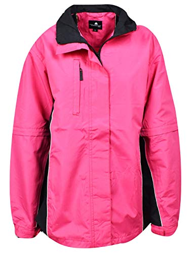 The Weather Company Ladies Microfiber Rain Jacket Pink/Black XL