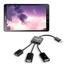 kwmobile 3in1 micro USB OTG hub adapter for Samsung Galaxy Tab A 10.1 (2016) micro USB splitter in black