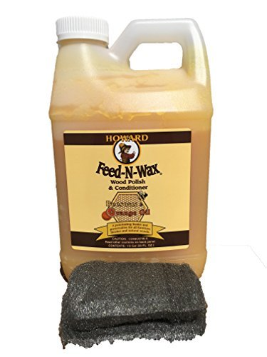 Howard Feed-N-Wax Restorative Wood Furniture Polish and Conditioner 64 Ounce 1/2 Gallon, Beeswax Feeds Wood, Antique Furniture Restoration