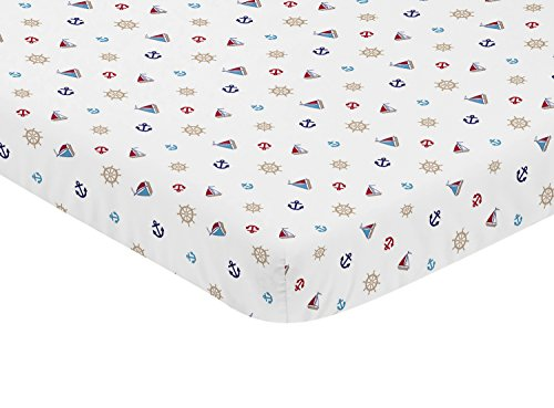 Sweet Jojo Designs Blue Red and White Nautical Boat Baby Fitted Mini Portable Crib Sheet