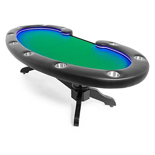 BBO Poker Lumen HD Lighted Poker Table for 10 Players with Green Speed Cloth Playing Surface, 101.5 x 46-Inch Oval, Includes Matching Dining Top by BBO Poker (Image #2)