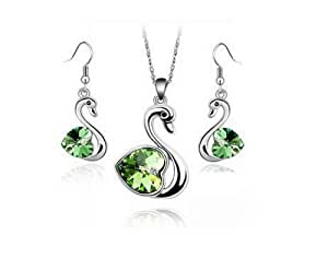 KATGI Fashion Austrian Crystal Swan Pendant Necklace and Earrings Set (Green)