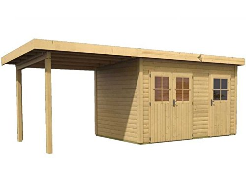 Karibu Gartenhaus Rom 2 2-Raum-Haus mit Schleppdach und selbstklebender Dachbahn