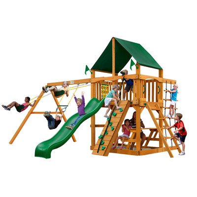 Gorillaplay Sets Home Backyard Playground Chateau II Swing Set with Amber Posts and Sunbrella Canvas Forest Green Canopy