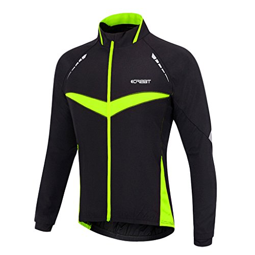 ICREAT Mens Cycling Jacket Windproof Breathable Running Coat Thermal High Visibility MTB Riding Jacket, Green M