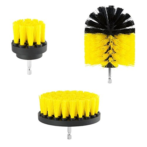 Drill Scrubbing Brush Attachment Kit 360 Drill Cleaning Brush 3pc Power Scrubber Brush Set for Showers, Tubs, Bathrooms, Tile, Grout, Carpet, Tires, Boats (yellow)