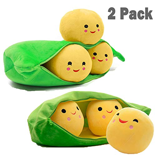 Cute Stuffed Animals for Babies, 2 Pack Plush Toy Story 3 Peas-in-a-Pod, Green Bean Bag Pea Figures Food Toys for Handbag Schoolbag, Three Plushies Peapod Doll Valentines Day Gift Easter Gift