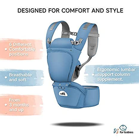 "6-in-1 Multifunctional Adjustable Ideal Gift Baby Carrier Ergonomic with Hip Seat Best Safe Backpack Carriers with Free /""My First Baby/"" E-Book"