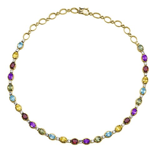 18k Yellow Gold Plated Sterling Silver Multi-Gemstone Necklace, 18""