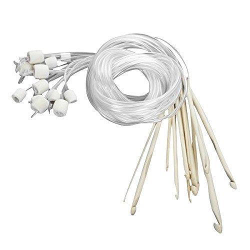 Flexible Tunisian Crochet Hook - Tinksky 12pcs Afghan Tunisian Bleached Bamboo Carpet Crochet Hooks Needles