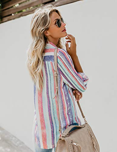 Manches 1 Hauts Multicolore Chemise Ray Up OranDesigne Shirt Button Femme Chemisier V Chemise Col Tops Blouse Chemisier Longues wg4Ia7q