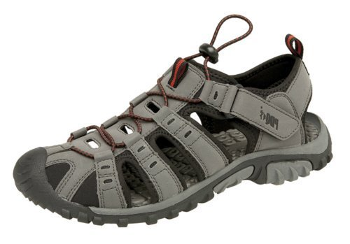 Men Boys Trail Hiking Sandals. Closed Toe, Elasticated Toggle Fastening, Lightweight Ventilated Shoes. Grey/Red
