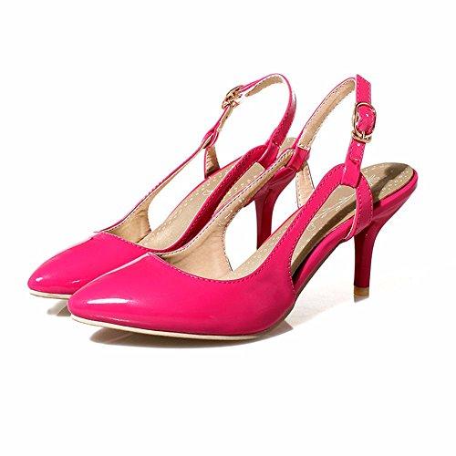 RFF-Women's Shoes Damen Pumps/Geschlossene Ballerinas/Riemchenpumps/Wies Stilettos Hohlen Leder Sandalen Schuhe mit Hohen Absätzen gules