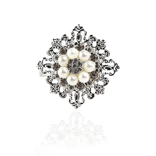 NUOLUX 10pcs Floral Napkin Rings with Faux Pearl Rhinestone (Silver) ()