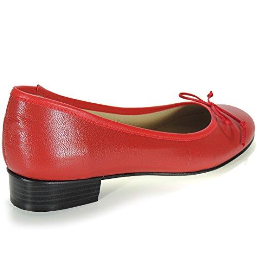 Calzados Romero Francesita. Bailarina De Piel EnTallas Grandes Rojo