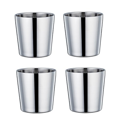 TeamFar 18/8 Stainless Steel Cups Mugs for Toddlers Kids Preschoolers, Insulated Double Wall, Mirror Finish Easy Clean, Compact Size 6 Oz, Set of 4, Dishwasher Safe