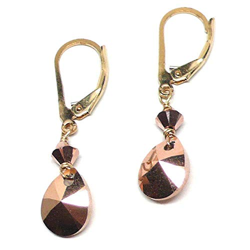Rose Gold-Color Faceted Pear-Shape Swarovski Briolette Lever Back Earrings Gold-Filled Crystal
