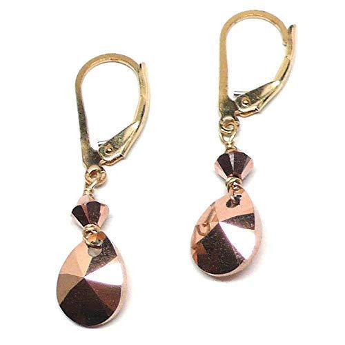 Rose Gold-Color Faceted Pear-Shape Swarovski Briolette Lever Back Earrings Gold-Filled Crystal - Faceted Mixed Shape