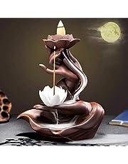 Fashion&Man Elegant Lotus Incense Burner Waterfall Incense Holder Ceramic Censer Handicrafts, Aromatherapy for Home Decor, Office, Yoga, Meditation, Relaxation+20pcs Backflow Incense Cones, Pattern 1