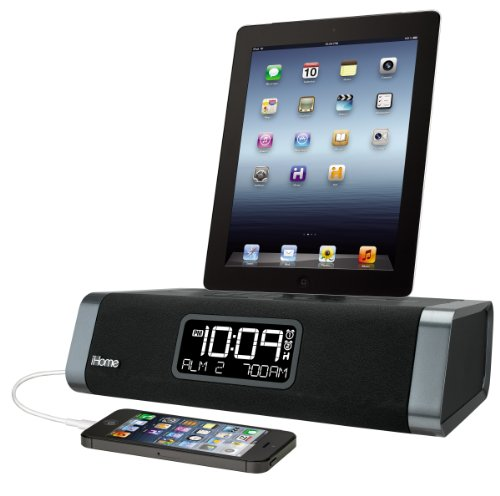 iHome 30 Pin Dual Charging Stereo FM Clock Radio with USB Ch