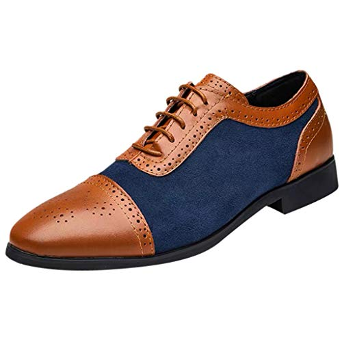 - Chenway Men's Dress Shoes-Brogue Carved Black Brown Cow Leather Oxfords Business Casual Shoes - Lace Low Heels Driving Shoes (9.5, Blue)