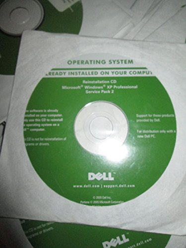 Dell Operating System Windows XP Professional Service Pack 2 Part Number #TD876 Year 2005 PC Laptop Computer Software Program