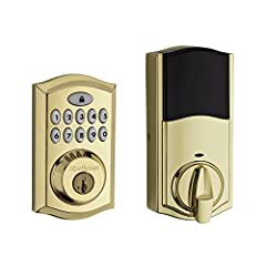 The SmartCode 913 touchpad electronic deadbolt is a one-touch locking motorized deadbolt. With your personalized code, you can enter your home with the convenience of keyless entry and the back-lit keypad provides increased visibility. SmartC...