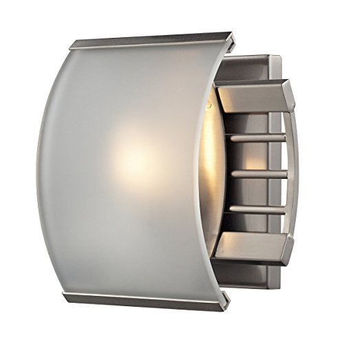 Elk 31355/1 7-Inch Winslow 1-Light Bathbar with Curved Frosted Glass Shade, Brushed Nickel (Winslow Wall Sconce Finish)
