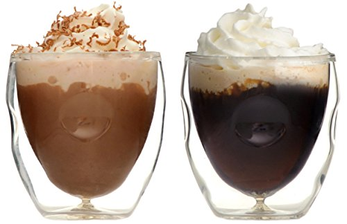 Ozeri Moderna Artisan Series Double Wall Beverage and Espresso Shot Glasses, 2-Ounce, Set of 2
