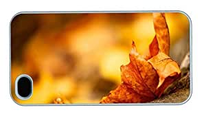 Hipster fun iPhone 4 covers Autumn Maple Leave PC White for Apple iPhone 4/4S