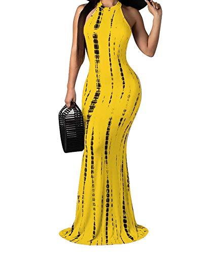 Akk Womens Tie Dye Ombre High Neck Sleeveless Cut Out Bodycon Floor Lengt Mermaid Maxi Long Evening Dress Gown Yellow