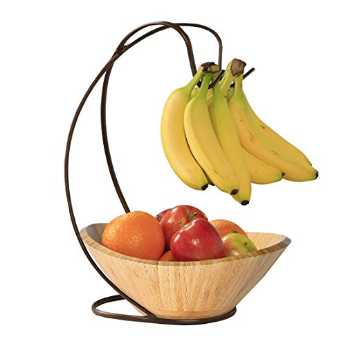 Seville Classics Fruit Tree with Banana Hook and Large Wavy Bamboo Bowl ()