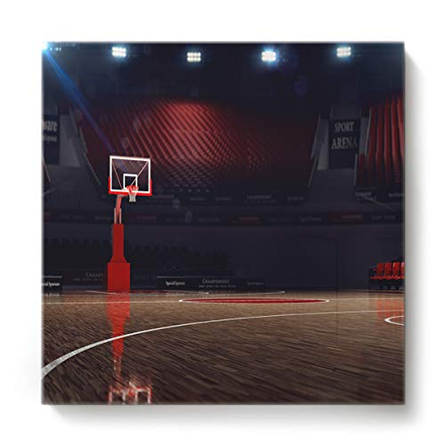 GreaBen Modern Canvas Wall Art Square Oil Painting Home Decor for Office Hotel,3D Basketball Court Stadium Pattern Canvas Artworks,Stretched by Wooden Frame,Ready to Hang,20 x 20 Inch