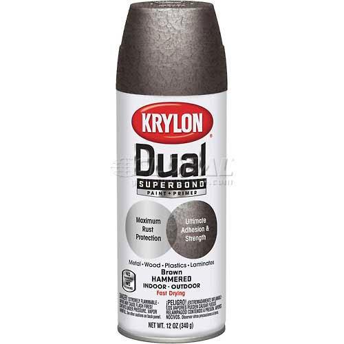 Krylon Dual Paint & Primer Aerosol 12 Oz. Brown Hammered - Lot of 6