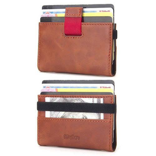- iPulse Minimalist Slim Wallet With RFID Protection - Tokyo Series Full Grain Leather Card Holder Case With Elastic Money Clip Band - [ Hold Up To 12 Cards] (Cognac)