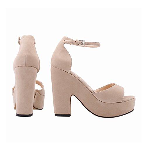 Meijunter Mode Frau New Wildleder Dick High Heels Peep Toe Sandalen Nightclub Damen Schuhe Nude