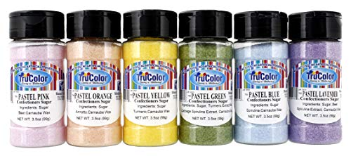 TruColor Pastel Sanding Sugar Natural 6-Color Set, 3.5oz Each