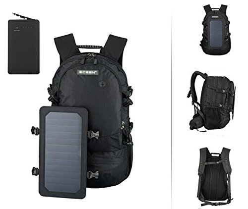 Price comparison product image COUSINEE Solar Powered Backpack, 7 Walls Solar Panel Bag, Charge for Smart Cell Phones and Tablets, GPS, eReaders, Bluetooth Speakers, Gopro Cameras etc. (With Power Bank 10000mah, Black)