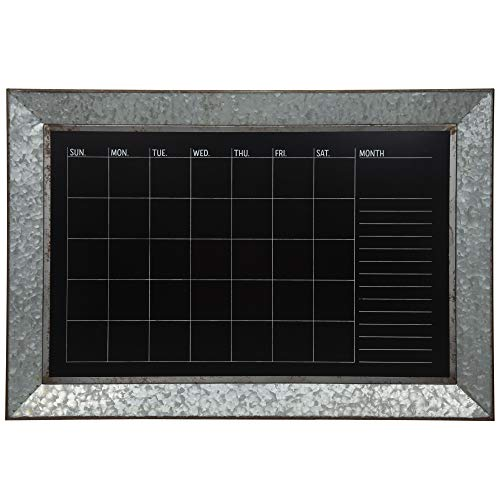 - Everly Hart Collection Rustic Galvanized Metal Framed Mount Chalkboard Calendar Décor or Wall Art, Silver