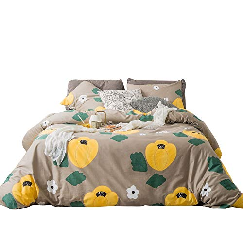 SUSYBAO 3 Piece Duvet Cover Set 100% Cotton Taupe Queen Size Green Leaves Print Bedding Set with Zipper Ties 1 Yellow and White Floral Duvet Cover 2 Pillowcases Luxury Quality Soft Cool Comfortable ()