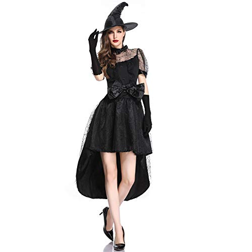LOKODO Women Halloween Cosplay Vampire Witch Costume Vintage Gothic Maxi Dress Black Christening Gown Costume Black L
