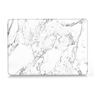 "iCasso Macbook New Pro 15 Case 2017 and 2016 Release Rubber Coated Cover For Macbook Pro 15""Retina Model A1707 with Touch Bar and Touch ID with Keyboard Cover (White Marble)"