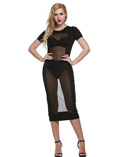 Bodycon Women's Sexy Dress Black Club Party Sedrinuo E6PRTnwqq