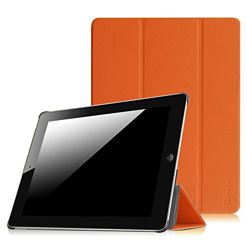 (Fintie iPad 2/3/4 Case - Lightweight Slim Tri-Fold Smart Stand Cover Protector Supports Auto Wake/Sleep for iPad 4th Generation with Retina Display, iPad 3 & iPad 2 - Orange)