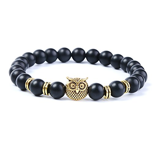 anzhongli 8mm Owl Grind Stone Beads Bracelet for Men Women Elastic Yoga Bracelet (Owl Beads Bracelet)