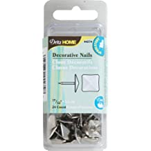 Dritz 44274 Upholstery Decorative Square Head Nails, Silver, 15/32-Inch, 24-Pack